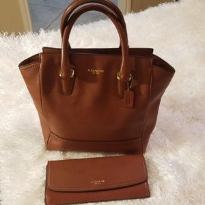 Authentic Coach leather handbag & matching wallet.